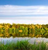 Nette Wasserreflexion mit Herbstwald Stockbild