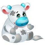 Nette weiße Kuh - das angefüllte Spielzeug der alte Kinder mit Flecken Vektor in der Karikaturart lokalisiert auf Weiß Stockbilder