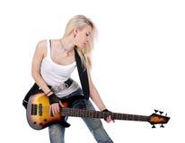 Nette weibliche spielende Gitarre Stockbilder