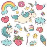 Nette weiche Einhörner stellten von den wunderbaren magischen Elementen mit Süßigkeiten und Schätzen ein lizenzfreie abbildung