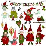 Nette Weihnachtselemente und -elfen Stockbilder