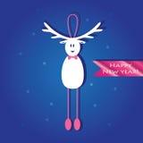 Nette Weihnachtskarte mit einem Bild eines lustigen Rens Stockbild