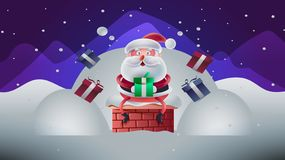 Nette Weihnachtskarte mit Santa Vector-Illustration stock abbildung