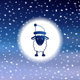 Nette Weihnachtskarte mit Schafen Lizenzfreies Stockfoto