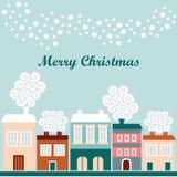 Nette Weihnachtskarte mit Winterhäusern, fallende Schneeflocken, Illustration Stockfoto