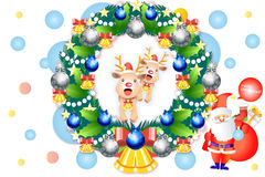 Nette Weihnachtskranzdekorationen mit Babyren - vector eps10 Lizenzfreie Stockfotos