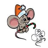 Nette Weihnachtsmaus mit Süßigkeit stock abbildung