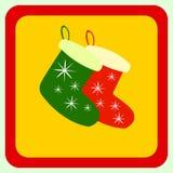 Nette Weihnachtssocken mit Verzierungen, im Vektorformat sehr einfach zu redigieren, einzelne Gegenstände Lizenzfreie Stockfotos