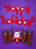 Nette Weihnachtsspielwaren von Sankt und von Ren Glücklicher Feiertag Lizenzfreies Stockfoto