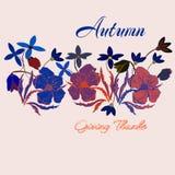 Nette Weinlese Danksagungs-Tageskarte in den Herbstfarben mit Blättern und Karikatur blüht Abbildung Stockbild