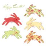 Nette Weinlese Ostern-Karte im Shabby-Chic-Stil mit Häschen Stockbild