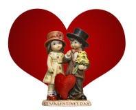 Nette Weinleseart Valentinsgrußverzierung mit Herzen Stockbild