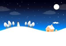 Nette Winterlandschaft mit nächtlichem Himmel Stockbild
