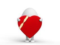 Nette Zeichen 3D mit einem Valentinsgruß lizenzfreie abbildung