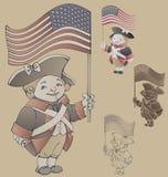 Nette Zeichentrickfilm-Figur in den Patriot-Kosten Ameriacan IndependanceWar Lizenzfreie Stockfotos