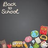 Nette Zeichentrickfilm-Figuren Zurück zu Schule-Hintergrund (EPS+JPG) Stockfotos
