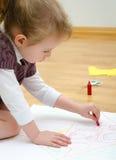 Nette Zeichnung des kleinen Mädchens Lizenzfreie Stockfotografie