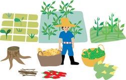 Landwirt mit Bauernhofoekosystemelementen Lizenzfreie Stockfotos