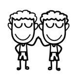 Nette zwei Jungen, die Hände berühren Stockbild