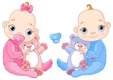 Nette Zwillinge mit Spielwaren Lizenzfreies Stockfoto