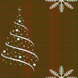 Netted background with christmas tree. Checkered background for Christmas card Stock Images