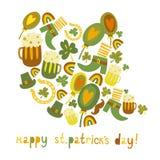 Netten bunten St Patrick Tageshintergrund Lizenzfreie Stockfotos