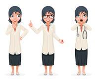 Netter überraschter Ärztin-Pill Medicine Hand-Beschlussfassungs-Zeigefinger herauf den Ratekarikatur-Zeichensatz lokalisiert stock abbildung