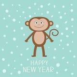 Netter Affe auf Schneehintergrund Guten Rutsch ins Neue Jahr 2016 Babyillustration Flaches Design der Grußkarte Lizenzfreies Stockfoto