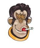 Netter Affe mit Süßigkeit auf einem Punkthintergrund Lizenzfreies Stockbild
