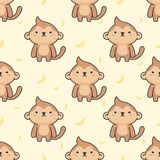 Netter Affe nahtloser Muster-Hintergrund stock abbildung