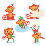 Netter Affe-Zeichensatz Vektor-Illustrationen von A in den verschiedenen Haltungen Alle auf weißem Hintergrund Stockfoto