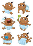 Netter Afroamerikanerbaby-Vektorsatz Lizenzfreie Stockfotografie