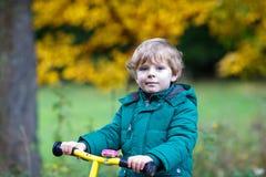 Netter aktiver Vorschuljunge, der auf sein Fahrrad im Herbstwald fährt Stockfotografie