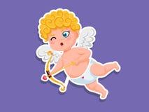 Netter Amorkarikatur Aufkleber mit Pfeil und Bogen Vektor-Illustrationselemente eines Valentinstags Grußkartenentwurf, Plakate, stockfoto