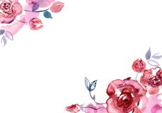 Netter Aquarellblumenhintergrund einladung Abstraktionsabbildung für Hochzeit Kaninchen mit einem Geschenk Stockfoto