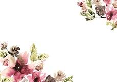 Netter Aquarellblumenhintergrund einladung Abstraktionsabbildung für Hochzeit Kaninchen mit einem Geschenk Stockfotografie