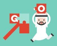 Netter arabischer Geschäftsmann holen Laubsäge, um das Pfeilpuzzlespiel abzuschließen vektor abbildung