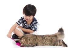Netter asiatischer Junge, der mit Kätzchen der getigerten Katze spielt lizenzfreies stockbild