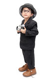 Netter asiatischer Junge mit Weinlesekamera stockbilder