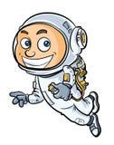 Netter Astronautenjunge der Karikatur in einem Raumanzug Stockfoto