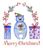 Netter Bär des Aquarells mit Weihnachtsjahreszeit stock abbildung