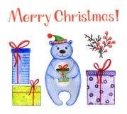 Netter Bär des Aquarells mit Weihnachtsjahreszeit vektor abbildung