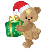 Netter Bär in einem roten Hut mit neues Jahr ` s Geschenk in einem Kasten vektor abbildung