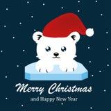 Netter Bär, frohe Weihnachten und guten Rutsch ins Neue Jahr-Vektor stockfotos
