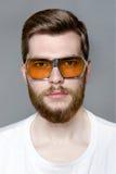 Netter bärtiger Mann in den Gläsern vom Sonnenstudioporträt Stockfotos