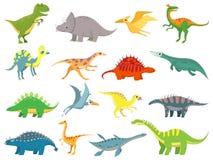 Netter Baby-Dinosaurier Dinosaurierdrache und lustiger Dino-Charakter Fantasiekarikaturdinosauriervektor-Illustrationssatz vektor abbildung