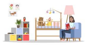 Netter Babyrauminnenraum im Haus stock abbildung