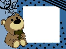 Netter Babyteddybärbuch-Bilderrahmenhintergrund Lizenzfreies Stockbild