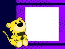 Netter Babytiger-Buch-Bilderrahmenhintergrund Stockbilder