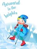 Netter Bergsteiger, der einen schneebedeckten Berg klettert stock abbildung